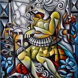 Pictura in stil cubist semnata A.Doni.