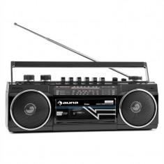 Auna Duke, RETRO BOOMBOX, magnetofon portabil, USB, SD, bluetooth, radio FM - Casetofon