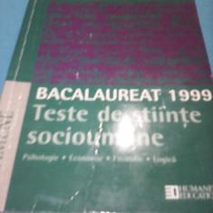 BACALAUREAT 1999 TESTE DE STIINTE SOCIOUMANE AUREL CAZACU HUMANITAS - Teste Bacalaureat Altele