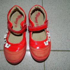 Balerini, papucei fetite, piele, cu floricele, marimea 29, marca Tino Tex - Balerini copii, Culoare: Rosu, Fete, Piele naturala