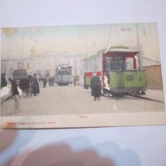 Cp galati anul 1908 gara cu doua tramvaie din epoca cu mici defecte scrisa - Carte Postala Moldova 1904-1918, Stare: Circulata, Tip: Printata