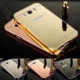 Husa / Bumper aluminiu + spate acril oglinda Samsung Galaxy J7 (2016) / J710F, Alt model telefon Samsung, Auriu