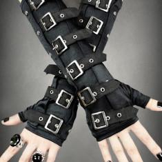 Mănuși gotice lungi cu catarame - Manusi Dama