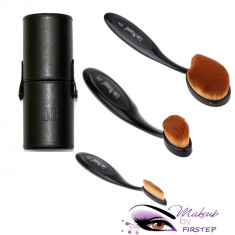 Set 3 pensule ovale machiaj + Tub cilindru suport pensule make-up depozitare - Trusa machiaj