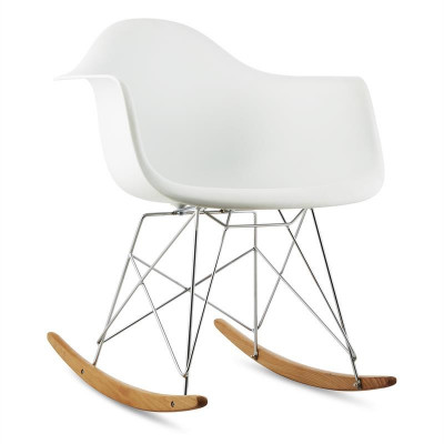 ONECONCEPT AUREL, alb, scaun balansoar, retro, scaun PP, lemn de mesteacăn foto