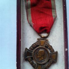 Romania - Medalia, Crucea Virtute / Virtutea Militara + cutie . Model deosebit - Ordin/ Decoratie, Romania pana la 1900