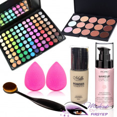 Trusa machiaj 88 culori MAC Fond de ten Baza Concealer Buretel ou pensula ovala - Trusa make up