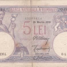 SV * Romania 5 LEI 1920 -VF vezi descrierea ! - Bancnota romaneasca