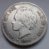 5 Pesetas 1894 PG-V - Spania - Alfonso XIII - Argint - 25 gr. - 900/1000