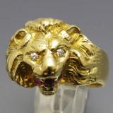 Inel vintage aur 18k cap leu cu diamante si rubin - Inel aur, Culoare: Galben