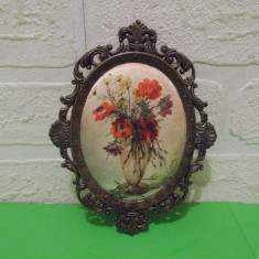 Flori de camp - superba STAMPA pe MATASE, rama metalica, ITALY - Tapiterie Goblen
