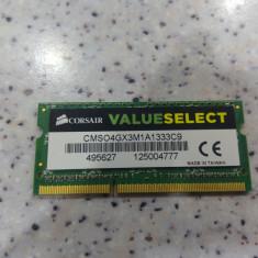 Memorie Laptop Corsair VS 4GB DDR3 1333MHz - Memorie RAM laptop