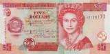 BELIZE █ bancnota █ 5 Dollars █ 2002 █ P-61b █ UNC █ necirculata