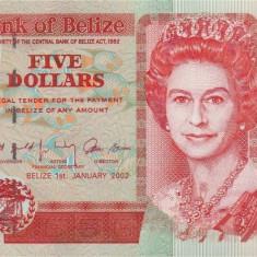 BELIZE █ bancnota █ 5 Dollars █ 2002 █ P-61b █ UNC █ necirculata - bancnota america