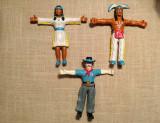 Set 3 figurine de cauciuc, serif, indian si indianca (amer-indieni), 13cm