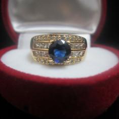 Inel Luxury Princess Crown Sapphire placat aur 18k cod 1610IN03 - Inel placate cu aur, 46 - 56