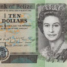 BELIZE █ bancnota █ 10 Dollars █ 2001 █ P-62b █ UNC █ necirculata - bancnota america