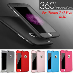 Husa iPhone 7 Fata Spate 360 Black - Husa Telefon Apple, Negru, Plastic, Fara snur, Carcasa