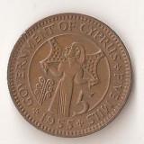 Moneda 5 mils 1955 - Cipru, Europa