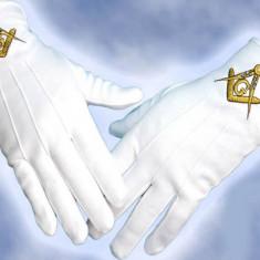 Manusi bumbac cu simboluri masonice Manusi mason Manusi ceremonie