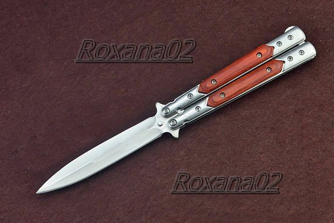 Cutit. Briceag butterfly balisong BENCHMADE Stainless Steel. Lama tip Stiletto