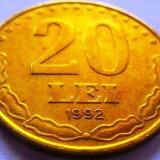 Moneda 20 Lei - ROMANIA, anul 1992 *cod 2486 - Moneda Romania