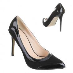 Pantofi stiletto tip Laboutin.Marimea 37 - Pantof dama, Culoare: Negru, Cu toc