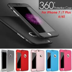 Husa iPhone 7 Plus Fata Spate 360 Black - Husa Telefon Apple, Negru, Plastic, Fara snur, Carcasa