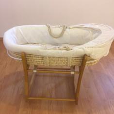 Pătuț coșuleț port bebe mothercare + lenjerie inclusă - Cos bebelusi, Crem