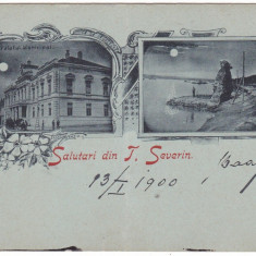Romania, salut. T. Severin, cp stilizata scrisa necirc. 1900: 2 imagini noaptea - Carte Postala Oltenia pana la 1904, Necirculata, Fotografie, Drobeta-Turnu Severin