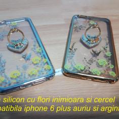 Husa silicon cu flori inimioara si cercel iphone 6 plus auriu si argintiu - Husa Telefon