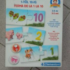 Joc cifre, Ferma de la 1 la 10, Clementoni, 3-5 ani, Invata numerele si animale - Jocuri Litere si Cifre, 2-4 ani, Unisex
