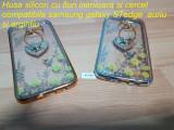 Husa silicon cu flori inimioara si cercel  samsung  S7edge  auriu si argintiu