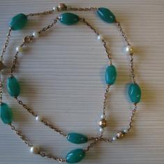 Colier din aur 14k cu Onix verde si perle. - Colier aur