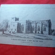 Gravura S.Jefferson Carlisle 1840-Greystoke Church, dim.= 15, 5x10, 5 cm - Pictor strain, Istorice, Cerneala, Altul
