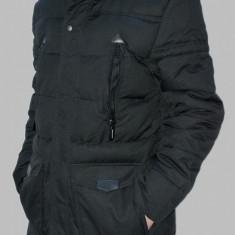 Geaca lunga barbati neagra Parka cu gluga groasa de iarna casual slim fit - Geaca barbati, Marime: XXL, Culoare: Negru