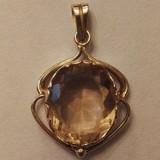 Pandantiv din aur 14k, decorat cu citrin - Pandantiv aur