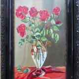 Vaza cu trandafiri - semnat D.Simon - Pictor roman, Flori, Ulei, Altul