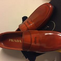 Pantofi loafers prada luxury, produs original - Pantof barbat Prada, Marime: 43, Culoare: Coniac