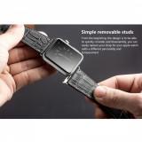 Curea piele naturala Qialino, Apple Watch Series 1, 2, 42mm, piele croco, NEGRU