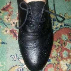 Pantofi piele Zara office nr 37 - Pantof dama Zara, Culoare: Negru