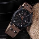 Ceas Soki cu data cadran negru si curea maro - Ceas barbatesc, Lux - sport, Quartz, Inox, Piele - imitatie