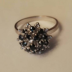 Inel din aur 8k cu safire - Inel aur alb