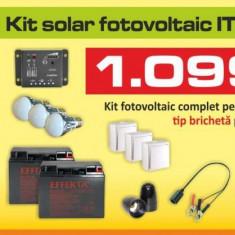 Kit (sistem) solar fotovoltaic ITechSol® 50W pentru iluminat 12V - Panou solar