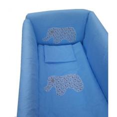 Lenjerie de pat 7 piese Maxi 120 x 60 cm Buline albe pe albastru Deseda - Lenjerie pat copii