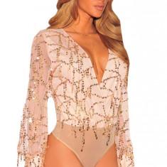 R502-813 Top elegant tip body cu maneci lungi din plasa si paiete - Body dama, Marime: S/M, M/L