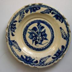 Platou, farfurie TURDA, sec. XIX, anii 1850, ceramica smaltuita, d= 30 cm - Arta Ceramica