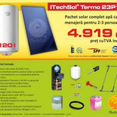 Pachet solar (kit) complet Casa Verde pentru apa calda menajera pentru 2-3 persoane, 120 litri (ITechSol® Termo 23P1.1) - Panou solar