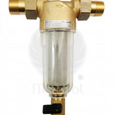 Filtru de apa cu curatare Honeywell, cu pahar transparent, olandezi si grad de filtrare 100 µ, 3/4