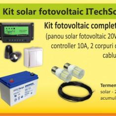 Kit (sistem) solar fotovoltaic ITechSol® 20W pentru iluminat 12V - Panou solar